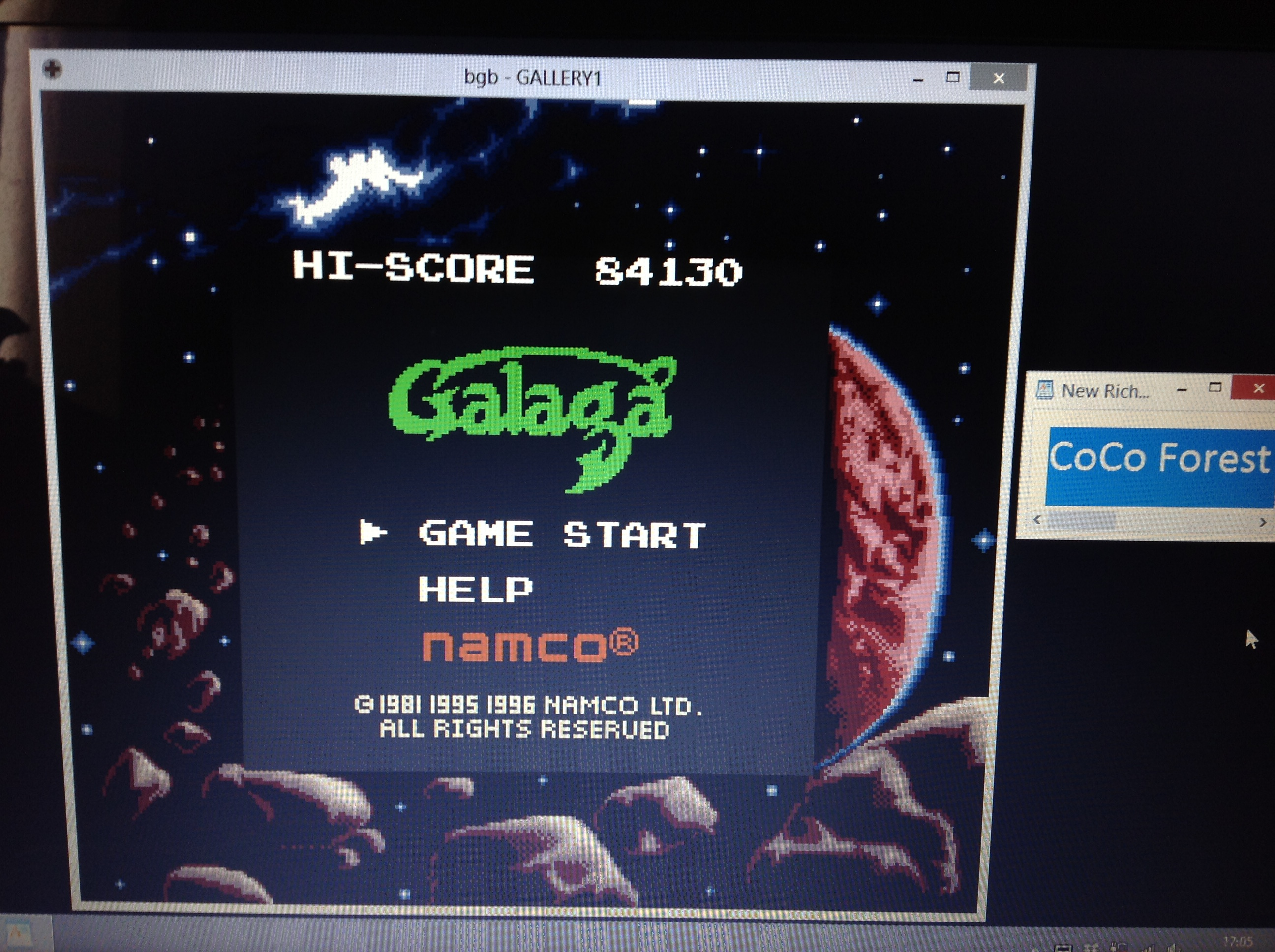 CoCoForest: Namco Gallery Vol.1: Galaga (Game Boy Emulated) 84,130 points on 2018-10-03 11:06:35