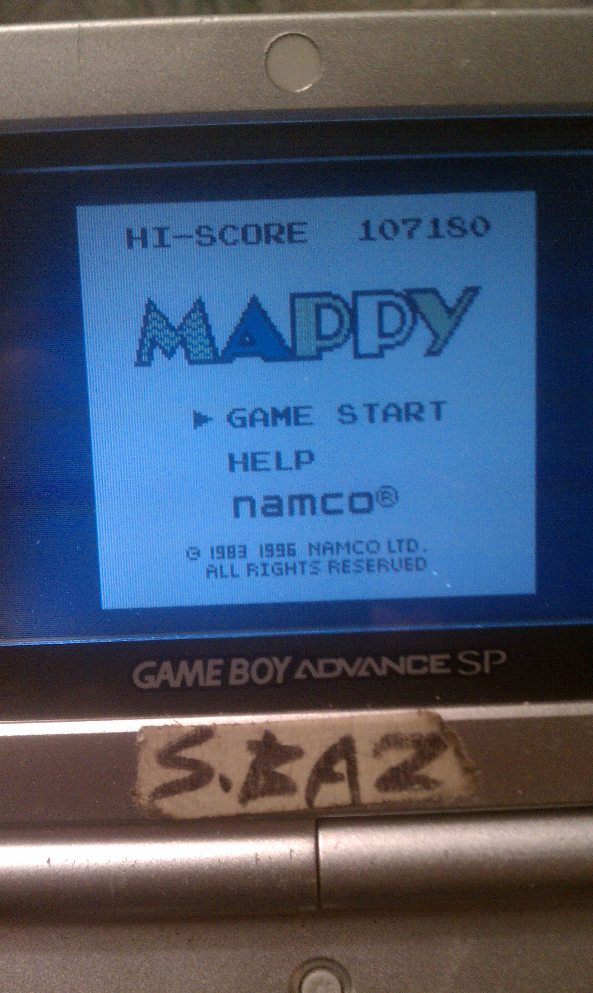 S.BAZ: Namco Gallery Vol.1: Mappy (Game Boy) 107,180 points on 2016-11-23 16:05:37