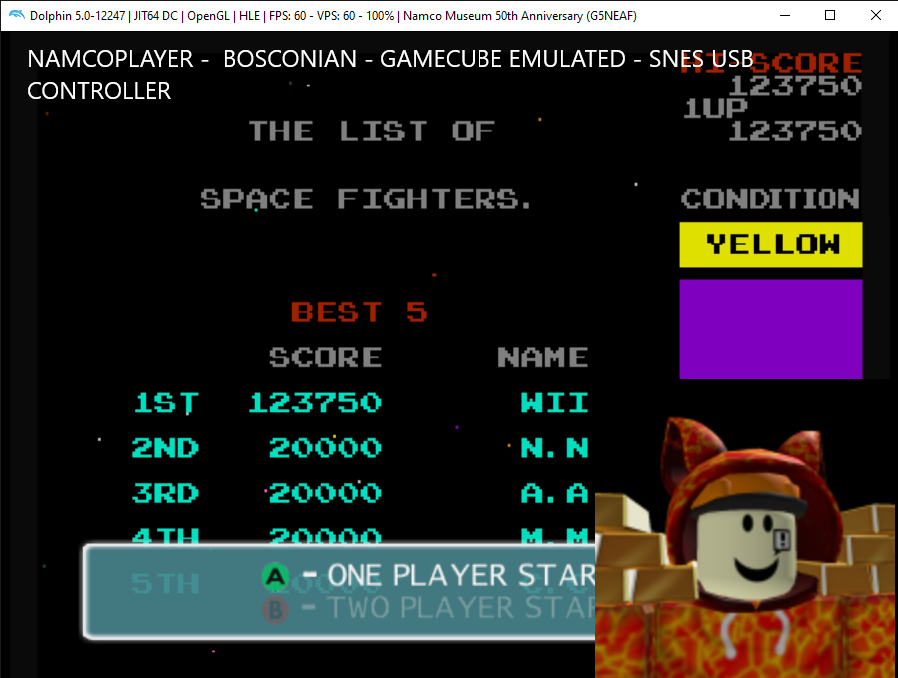 Namco Museum 50th Anniversary: Bosconian 123,750 points