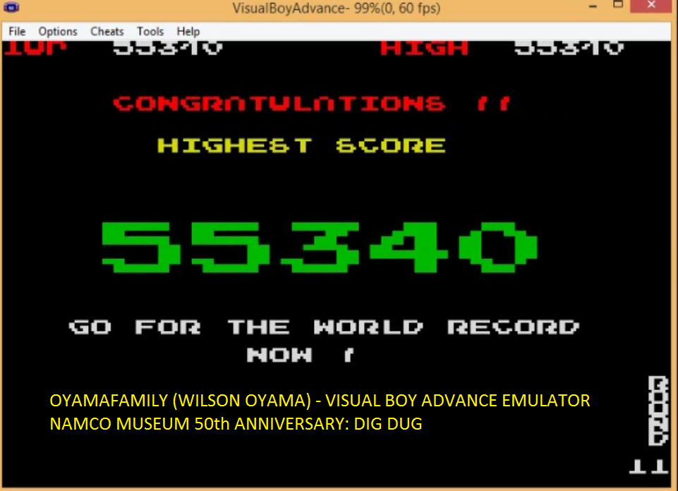 oyamafamily: Namco Museum 50th Anniversary: Dig Dug (GBA Emulated) 55,340 points on 2016-05-20 21:10:16