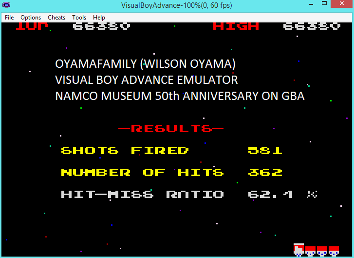 oyamafamily: Namco Museum 50th Anniversary: Galaga (GBA Emulated) 66,380 points on 2016-05-22 06:22:20