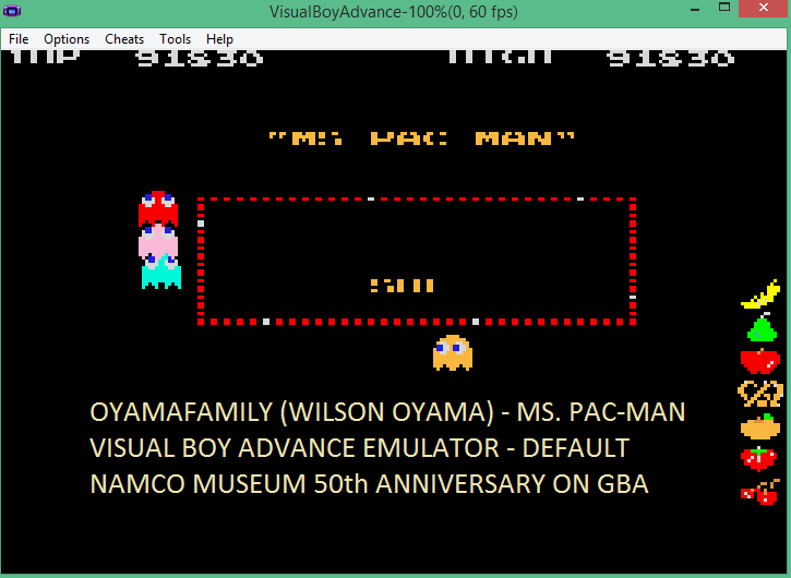 oyamafamily: Namco Museum 50th Anniversary: Ms. Pac-Man (GBA Emulated) 91,830 points on 2016-05-26 12:32:47