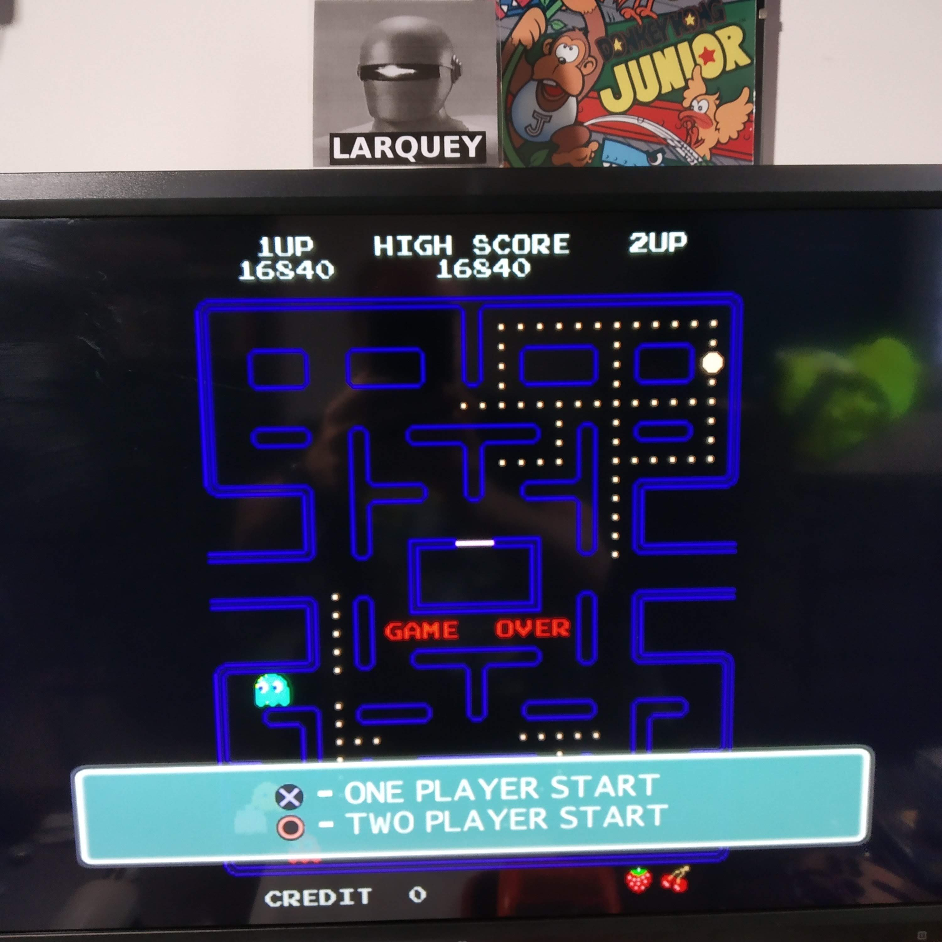 Larquey: Namco Museum 50th Anniversary: Pac-Man (Playstation 2 Emulated) 16,840 points on 2020-08-13 14:01:27