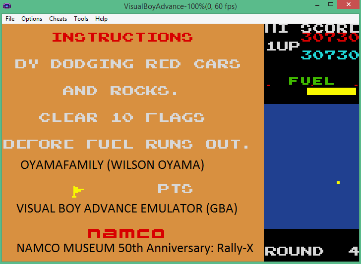 oyamafamily: Namco Museum 50th Anniversary: Rally-X (GBA Emulated) 30,730 points on 2016-05-22 06:35:23