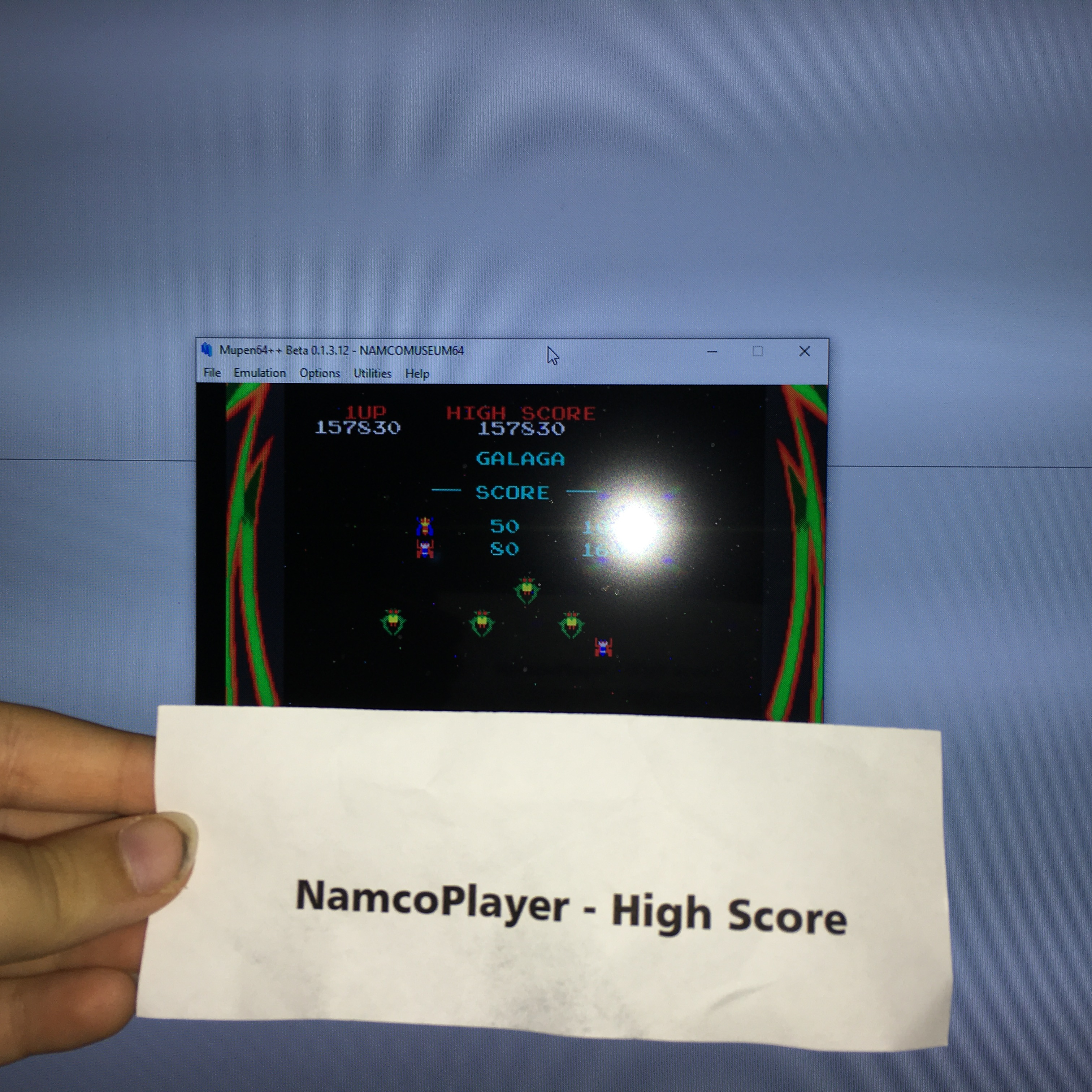 NamcoPlayer: Namco Museum 64: Galaga (N64 Emulated) 157,830 points on 2020-09-12 08:10:21