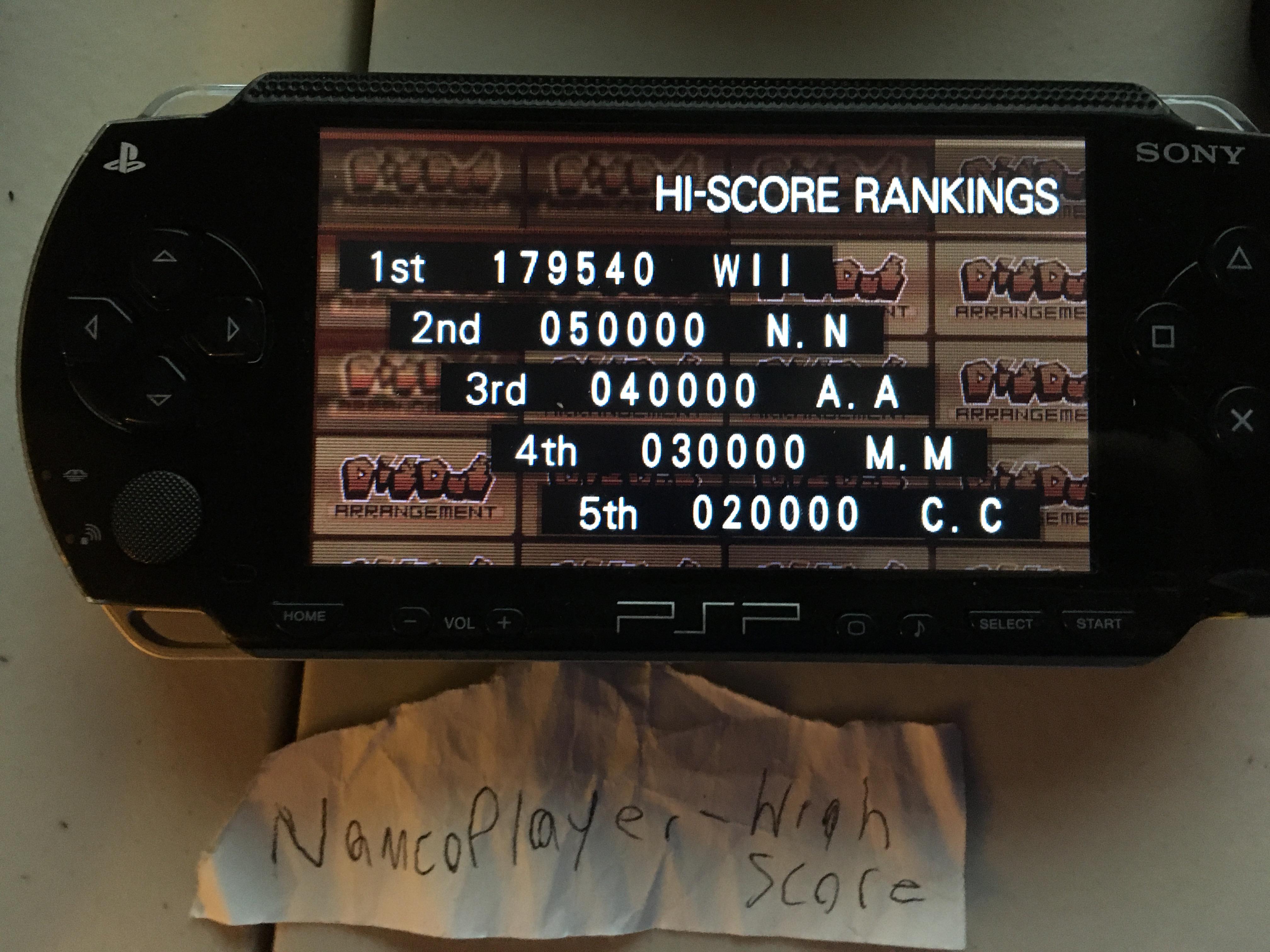 NamcoPlayer: Namco Museum: Battle Collection: Dig Dug Arrangement (PSP) 179,540 points on 2020-08-22 17:52:25