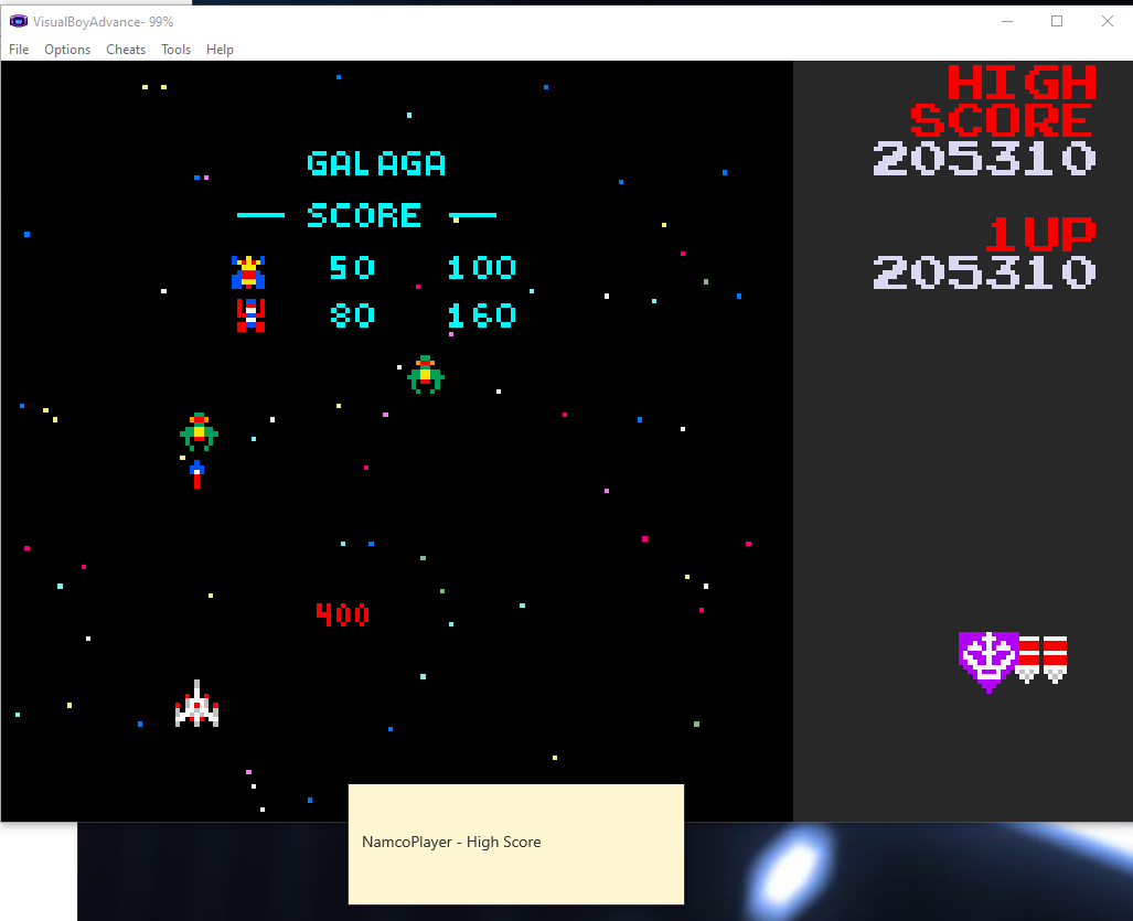 NamcoPlayer: Namco Museum: Galaga (GBA Emulated) 205,310 points on 2020-11-03 20:27:38