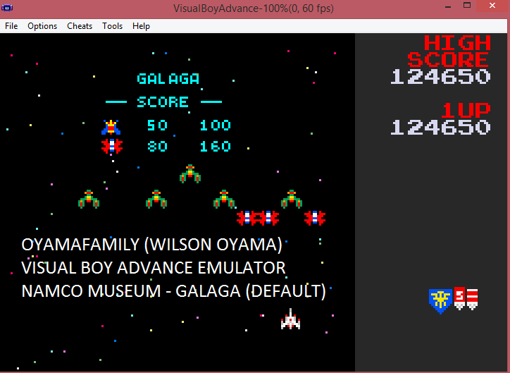 oyamafamily: Namco Museum: Galaga (GBA Emulated) 124,650 points on 2016-05-15 13:32:16