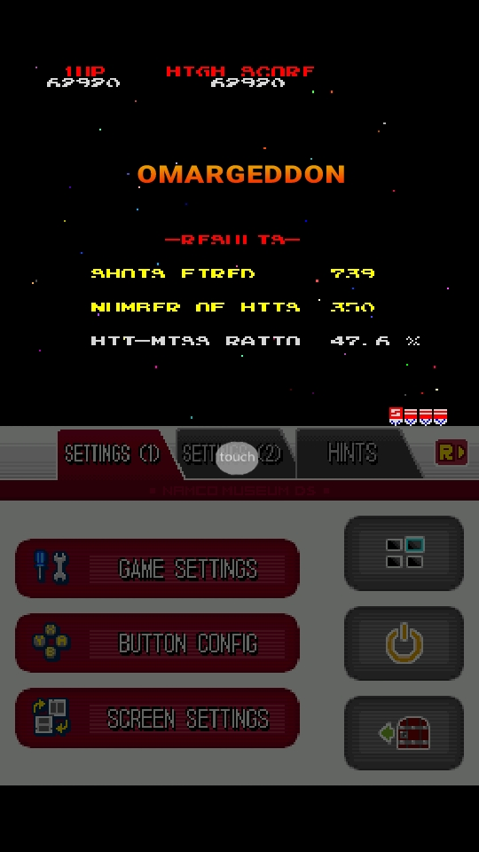 omargeddon: Namco Museum: Galaga (Nintendo DS Emulated) 62,920 points on 2018-10-07 11:06:01