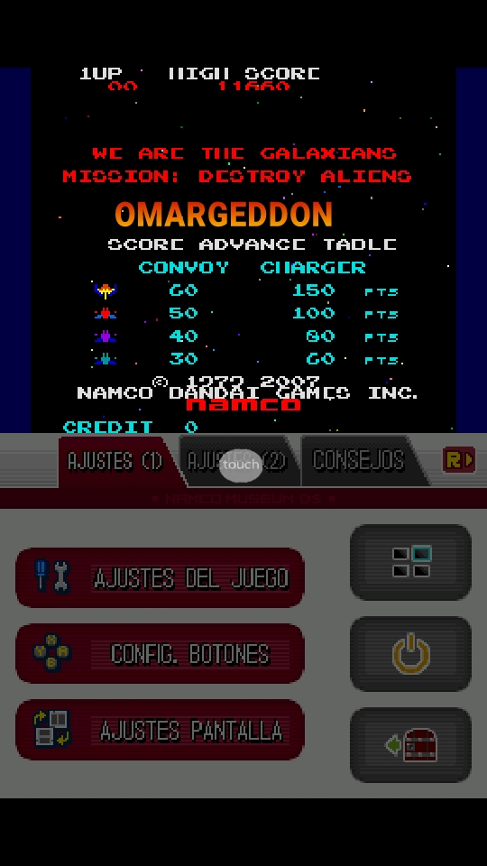 omargeddon: Namco Museum: Galaxian (Nintendo DS Emulated) 11,660 points on 2018-10-06 21:13:23