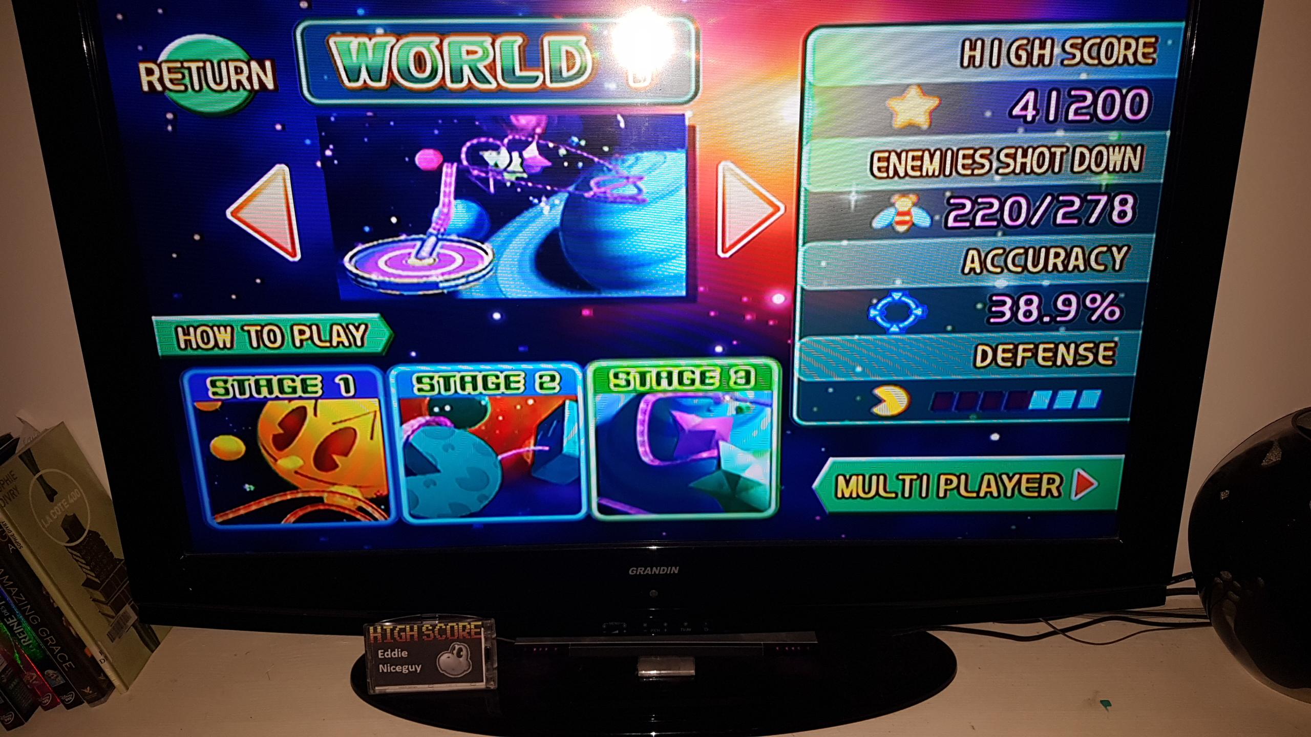 EddieNiceguy: Namco Museum Megamix [Galaga Remix 1-3] (Wii) 41,200 points on 2020-01-25 16:35:59