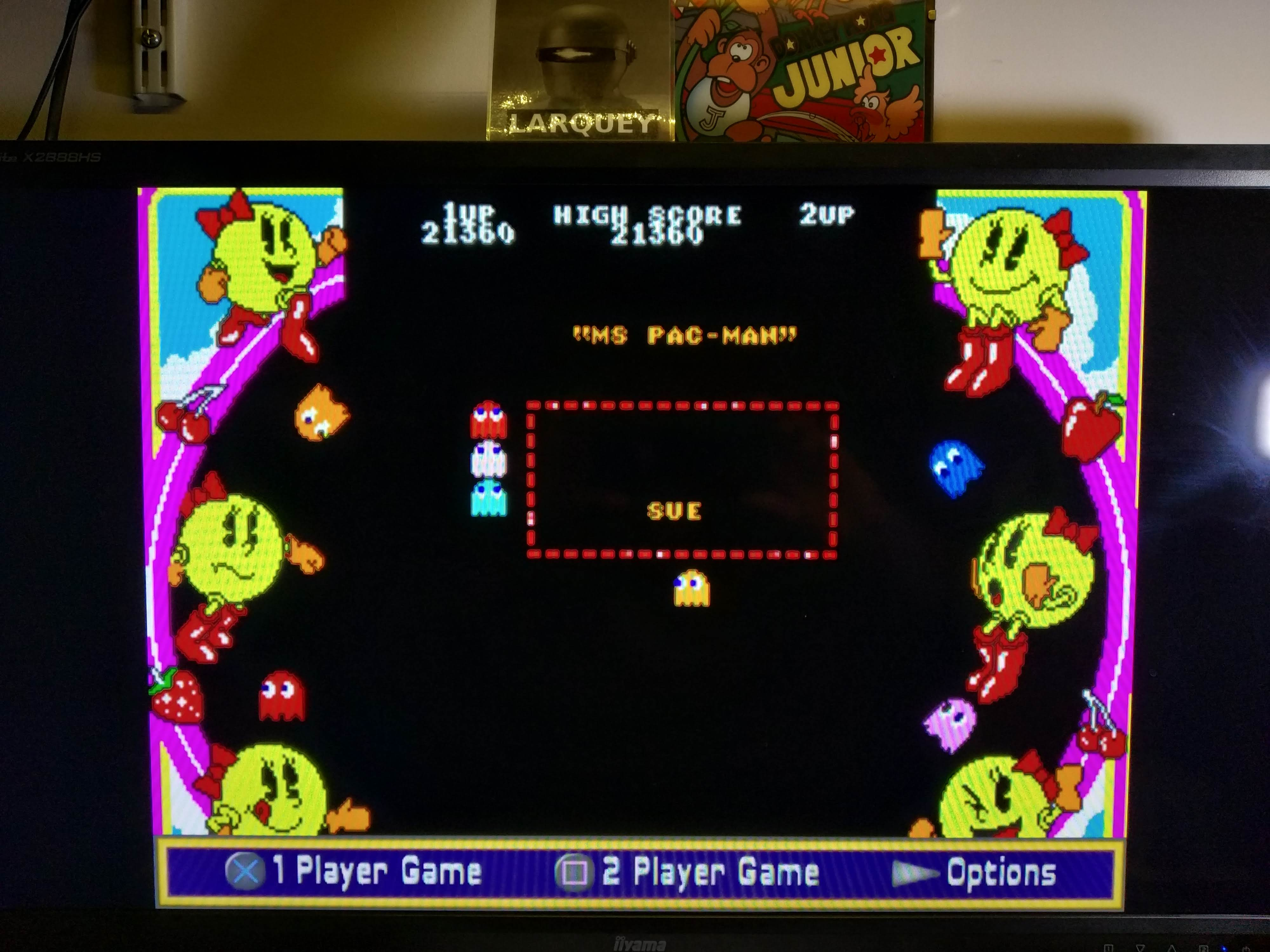 Larquey: Namco Museum: Ms. Pac-Man (Playstation 2 Emulated) 21,360 points on 2020-08-08 02:07:06