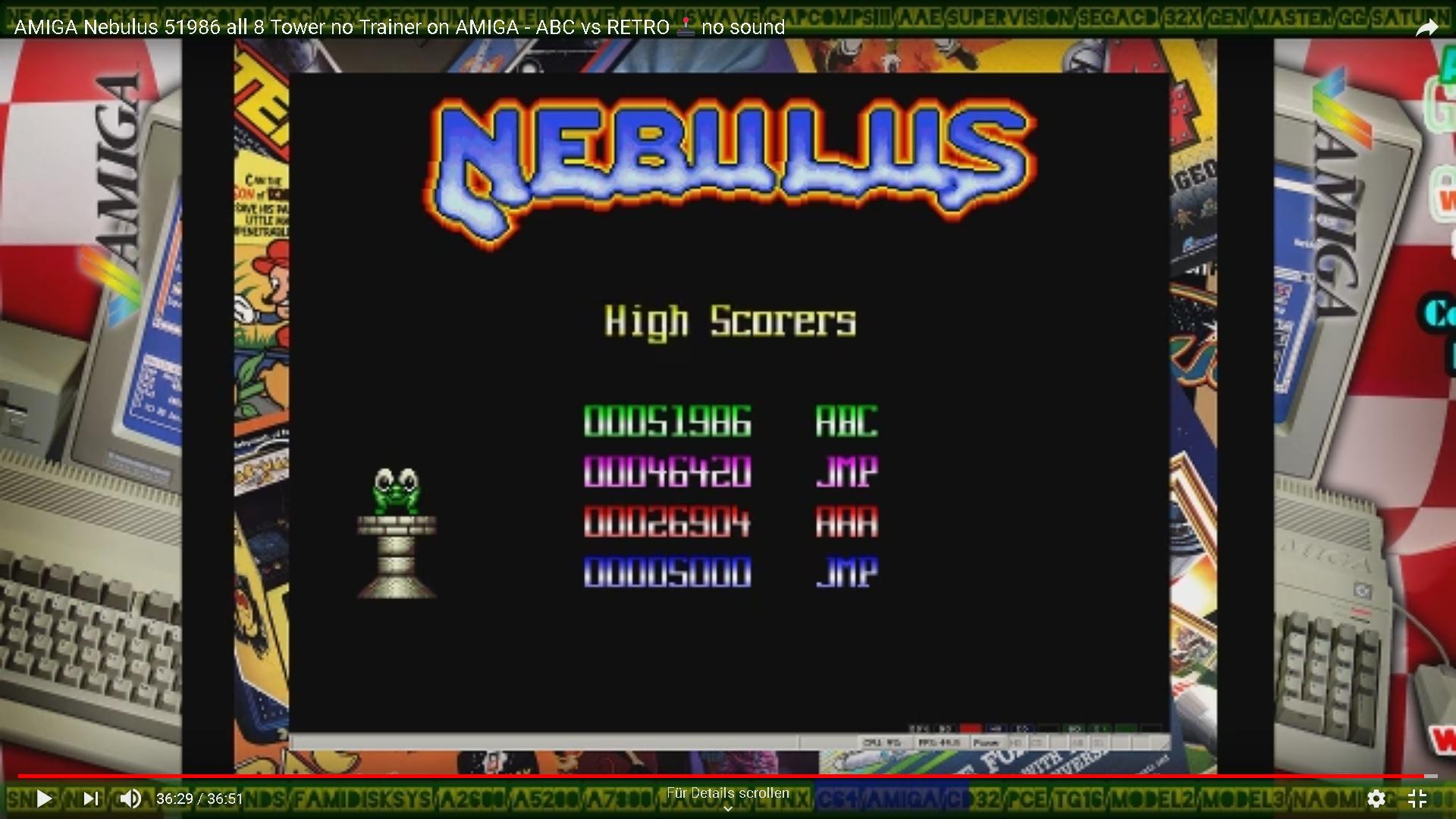 ArcadePlayerABC: Nebulus [Mission 1] (Amiga Emulated) 51,986 points on 2019-12-16 06:01:16