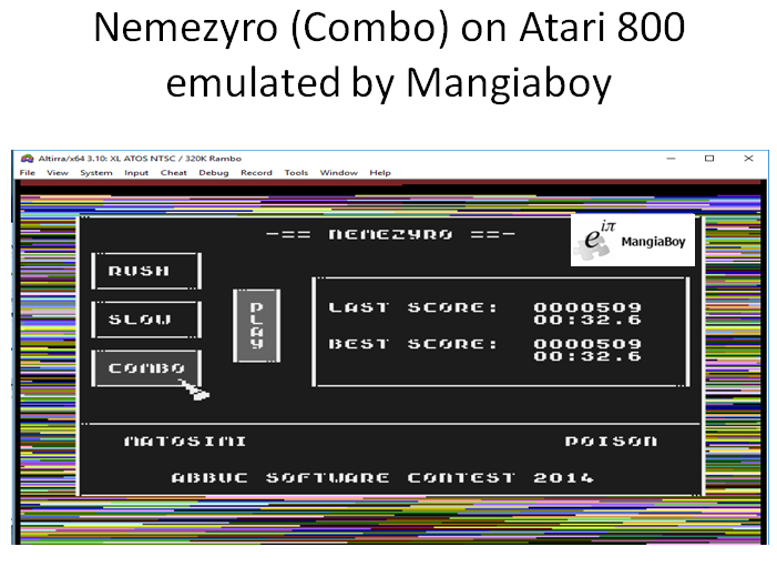 MangiaBoy: Nemezyro: Combo (Atari 400/800/XL/XE Emulated) 509 points on 2018-12-29 08:03:19