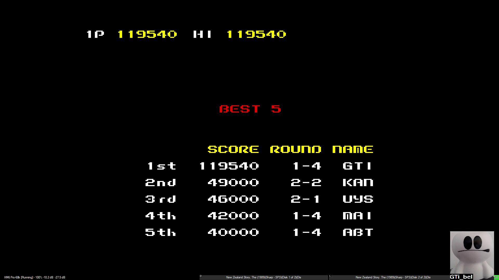 GTibel: New Zealand Story (Sharp X68000 Emulated) 119,540 points on 2020-01-09 05:29:32