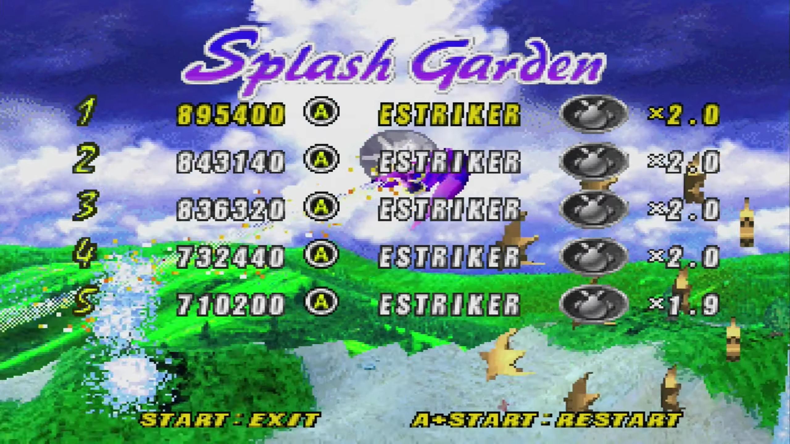 ElectricStriker: NiGHTS Into Dreams: Splash Garden (Sega Saturn) 895,400 points on 2019-01-17 17:09:01