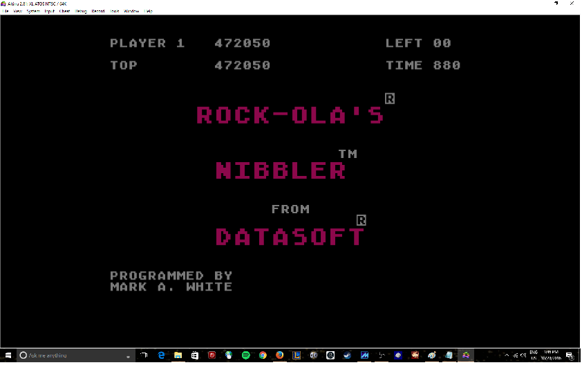MikeDietrich: Nibbler (Atari 400/800/XL/XE Emulated) 472,050 points on 2016-10-28 15:46:39