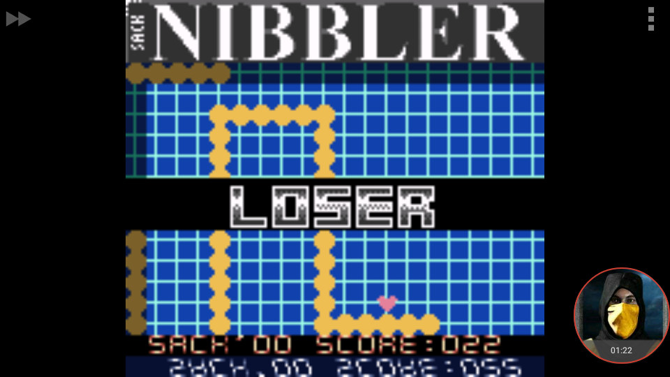 omargeddon: Nibbler (Game Boy Color Emulated) 22 points on 2018-01-29 20:23:00