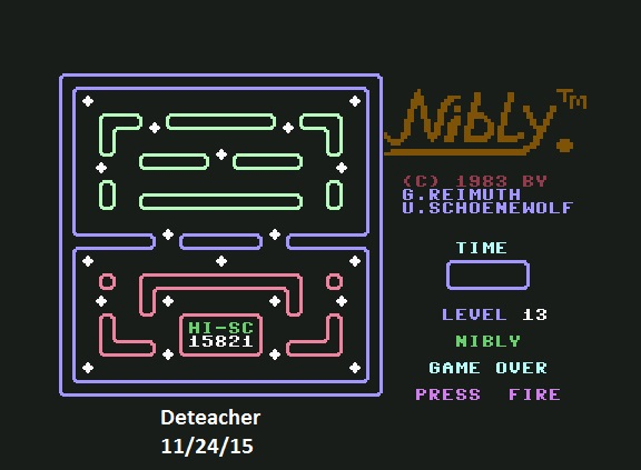 Deteacher: Nibly (Commodore 64 Emulated) 15,821 points on 2015-11-24 13:40:09