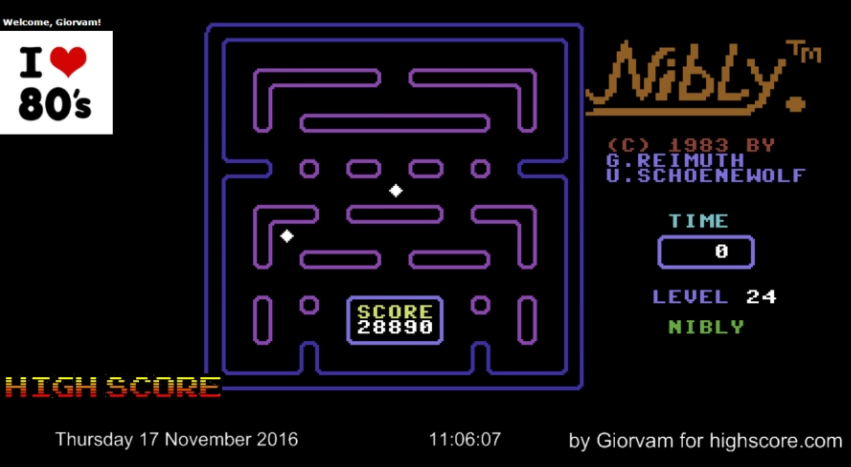Giorvam: Nibly (Commodore 64 Emulated) 28,890 points on 2016-11-17 03:32:55