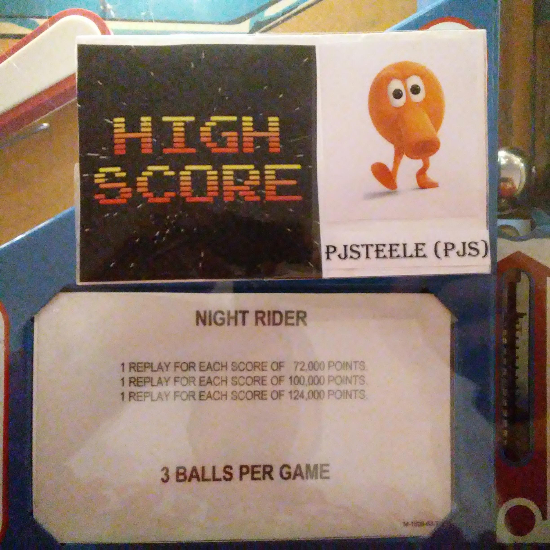 Pjsteele: Night Rider (Pinball: 3 Balls) 10,190 points on 2017-12-31 18:28:16