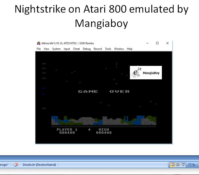 MangiaBoy: Night Strike [Level 4] (Atari 400/800/XL/XE Emulated) 400 points on 2019-01-01 05:36:54