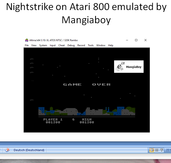 MangiaBoy: Night Strike [Level 6] (Atari 400/800/XL/XE Emulated) 1,300 points on 2019-01-01 05:38:12