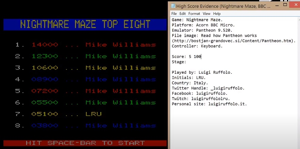 LuigiRuffolo: Nightmare Maze (BBC Micro Emulated) 5,100 points on 2020-07-28 08:48:50