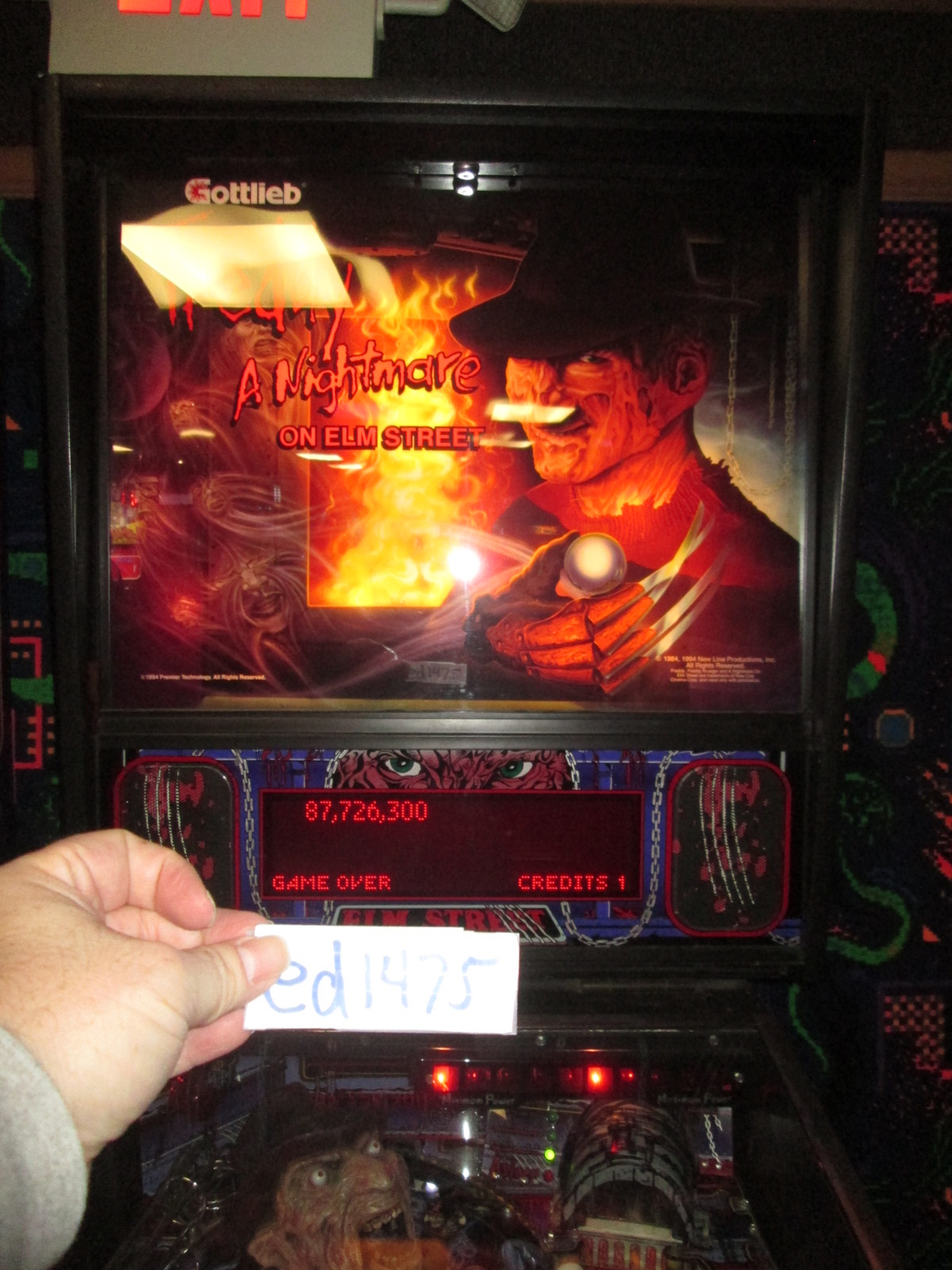 ed1475: Nightmare On Elm Street (Pinball: 3 Balls) 87,726,300 points on 2017-02-05 15:57:30