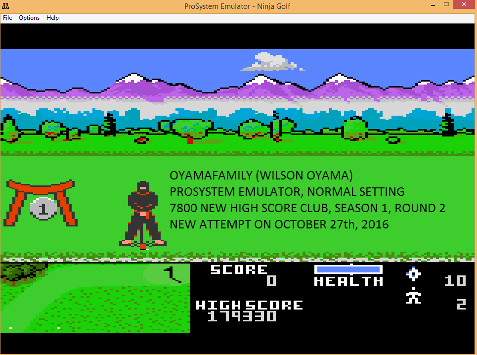 oyamafamily: Ninja Golf: Normal (Atari 7800 Emulated) 179,330 points on 2016-11-14 08:13:28