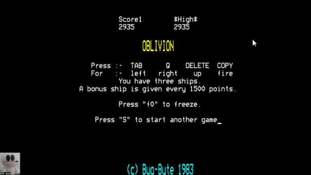 GTibel: Oblivion (BBC Micro Emulated) 2,935 points on 2017-11-09 01:19:39