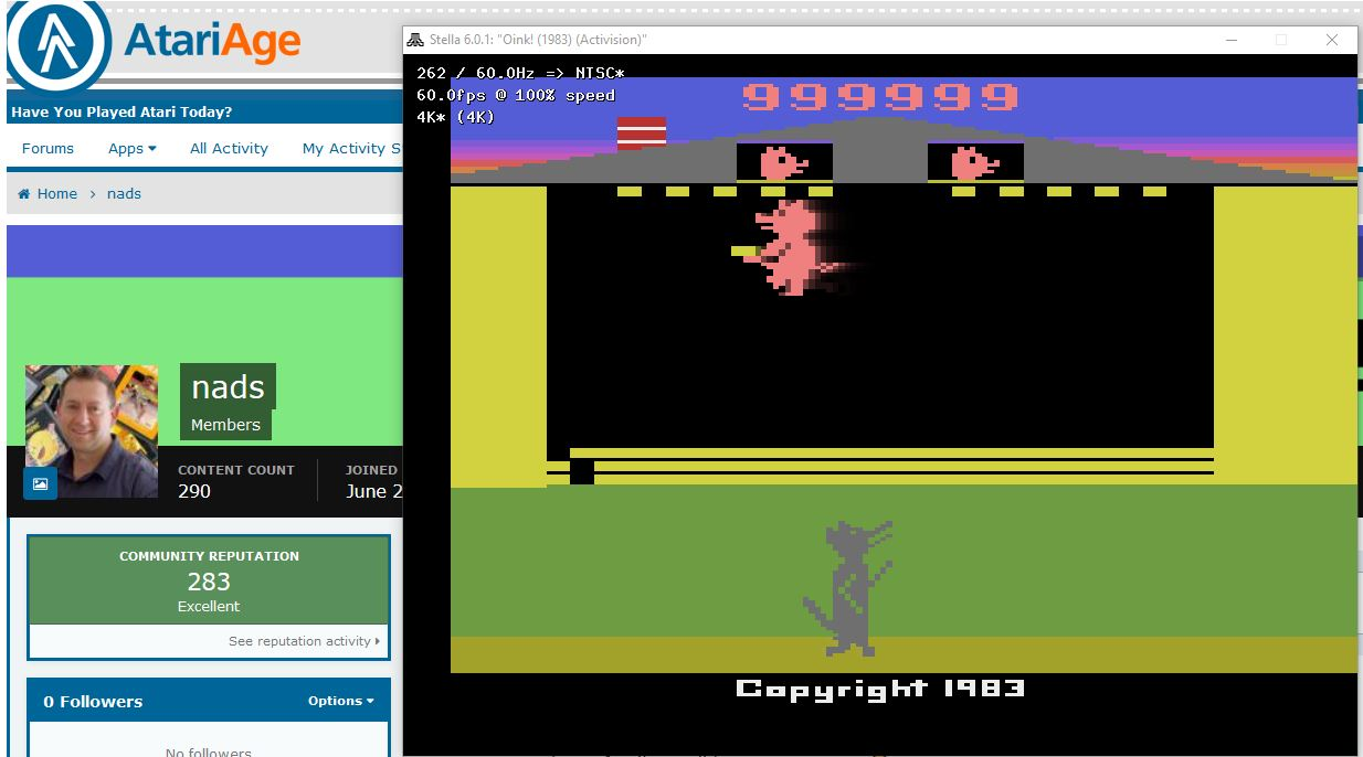 nads: Oink! (Atari 2600 Emulated Novice/B Mode) 999,999 points on 2019-09-14 05:32:18