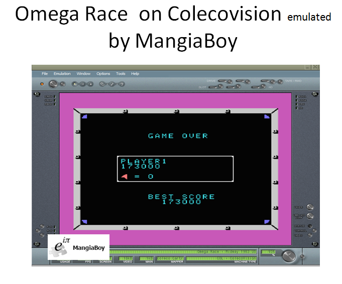 MangiaBoy: Omega Race (Colecovision Emulated) 173,000 points on 2016-12-02 20:02:21