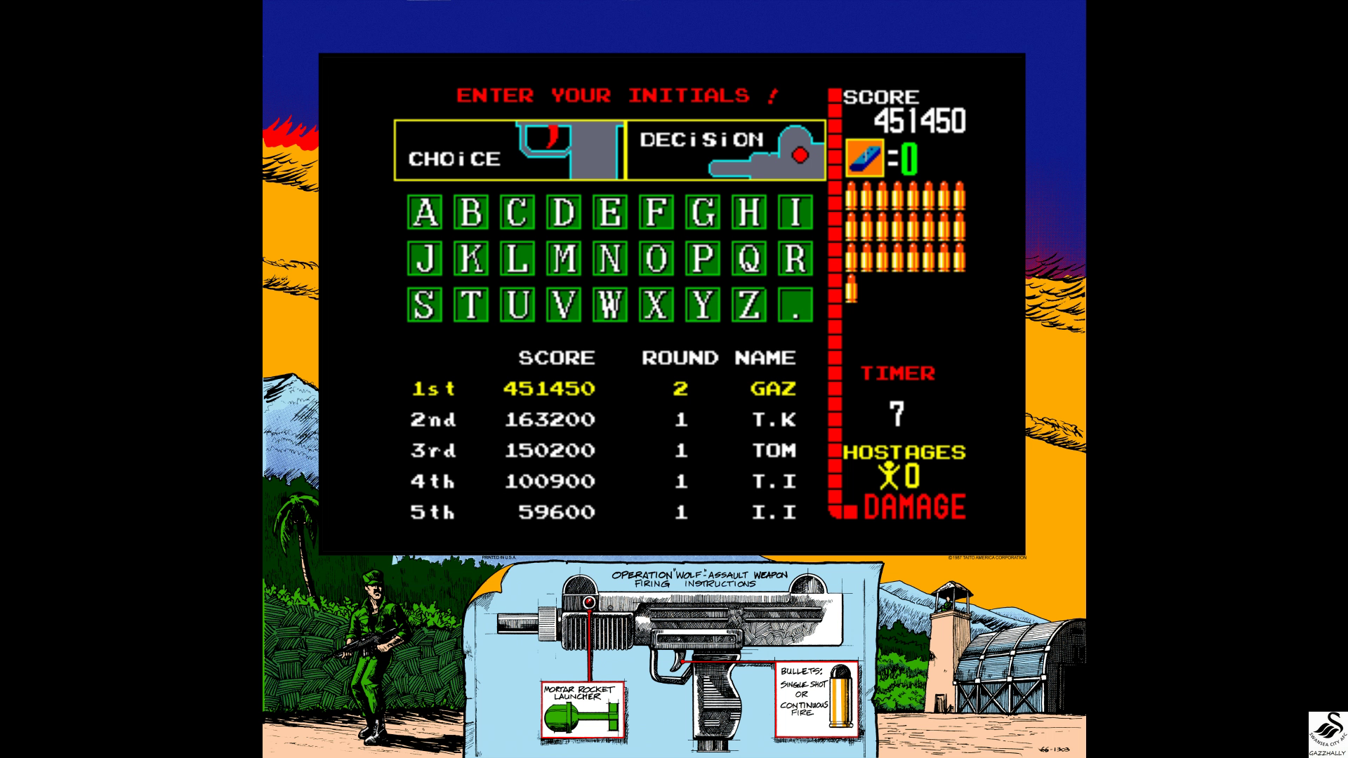 gazzhally: Operation Wolf (Arcade Emulated / M.A.M.E.) 451,450 points on 2017-07-03 05:53:11