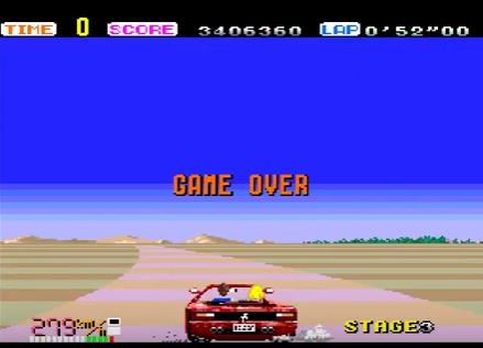 S.BAZ: Out Run: Hard (TurboGrafx-16/PC Engine Emulated) 3,406,360 points on 2018-09-29 09:35:38