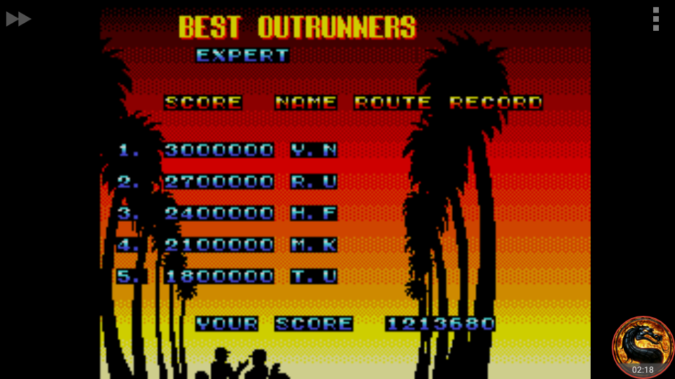 omargeddon: OutRun 3D [Expert] (Sega Master System Emulated) 1,213,680 points on 2018-09-04 11:20:26