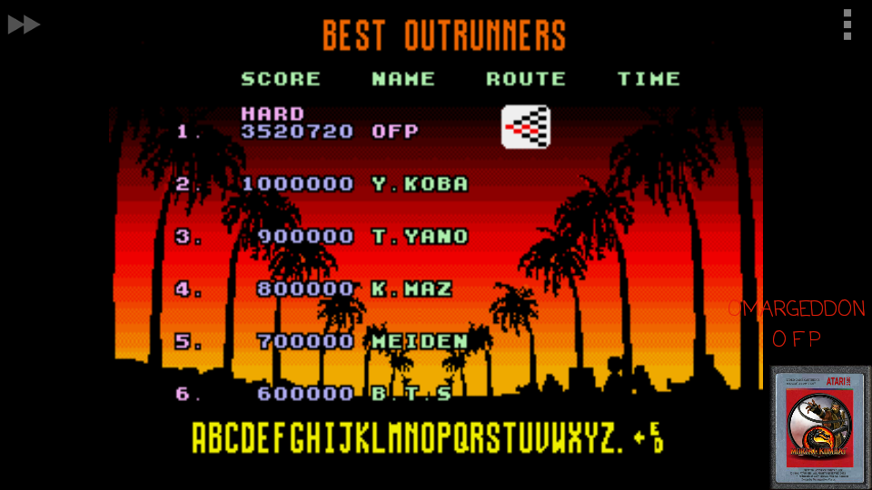 omargeddon: OutRun [Hard] (Sega Genesis / MegaDrive Emulated) 3,520,720 points on 2017-05-19 01:23:49