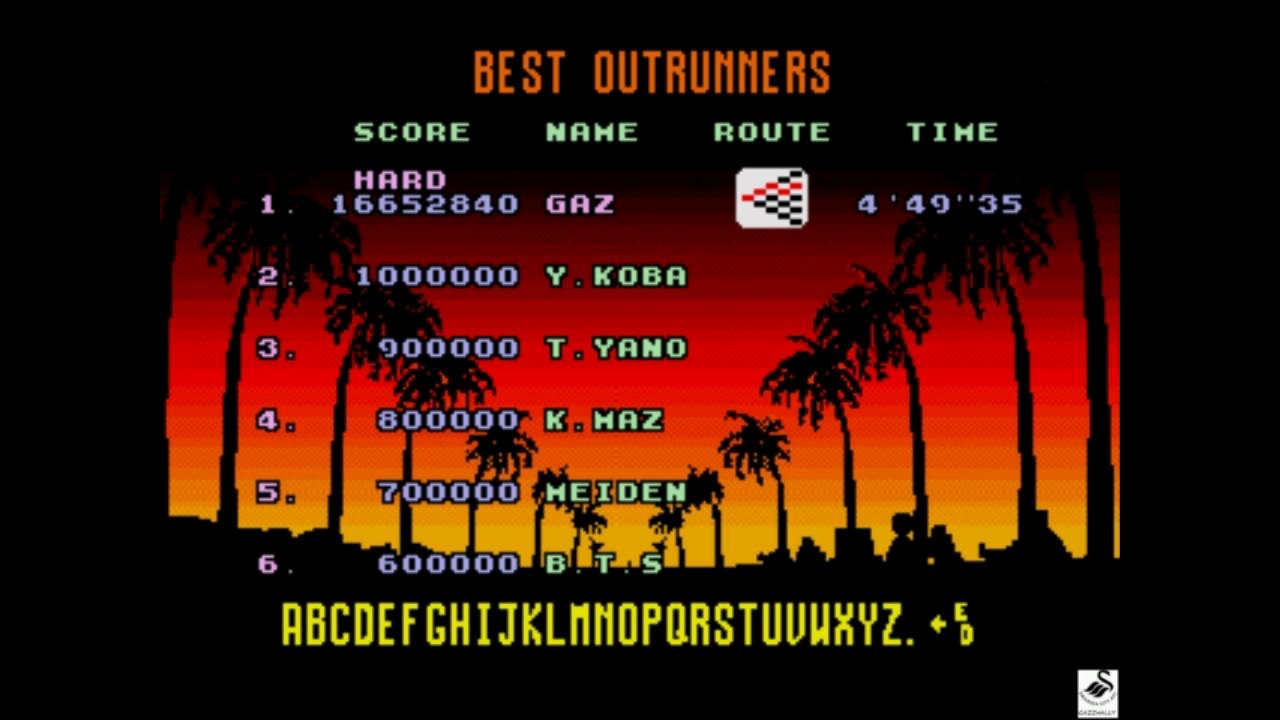 gazzhally: OutRun [Hard] (Sega Genesis / MegaDrive Emulated) 16,652,840 points on 2018-11-01 15:02:52
