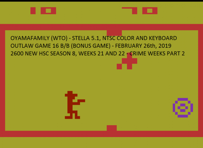 oyamafamily: Outlaw: Game 16 [Fastest Time To 10 Points] (Atari 2600 Emulated Novice/B Mode) 70 points on 2020-04-05 19:42:25