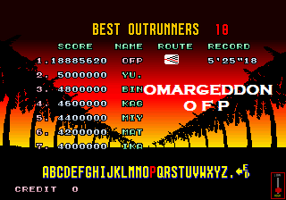omargeddon: Outrun (Arcade Emulated / M.A.M.E.) 18,885,620 points on 2016-10-14 20:26:32