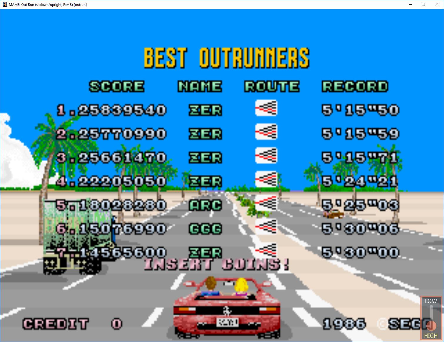 Outrun (Arcade Emulated / M A M E ) high score by zerOpRiME