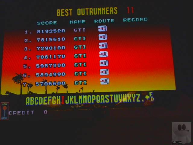 GTibel: Outrun (Arcade Emulated / M.A.M.E.) 8,192,520 points on 2018-12-20 09:43:01