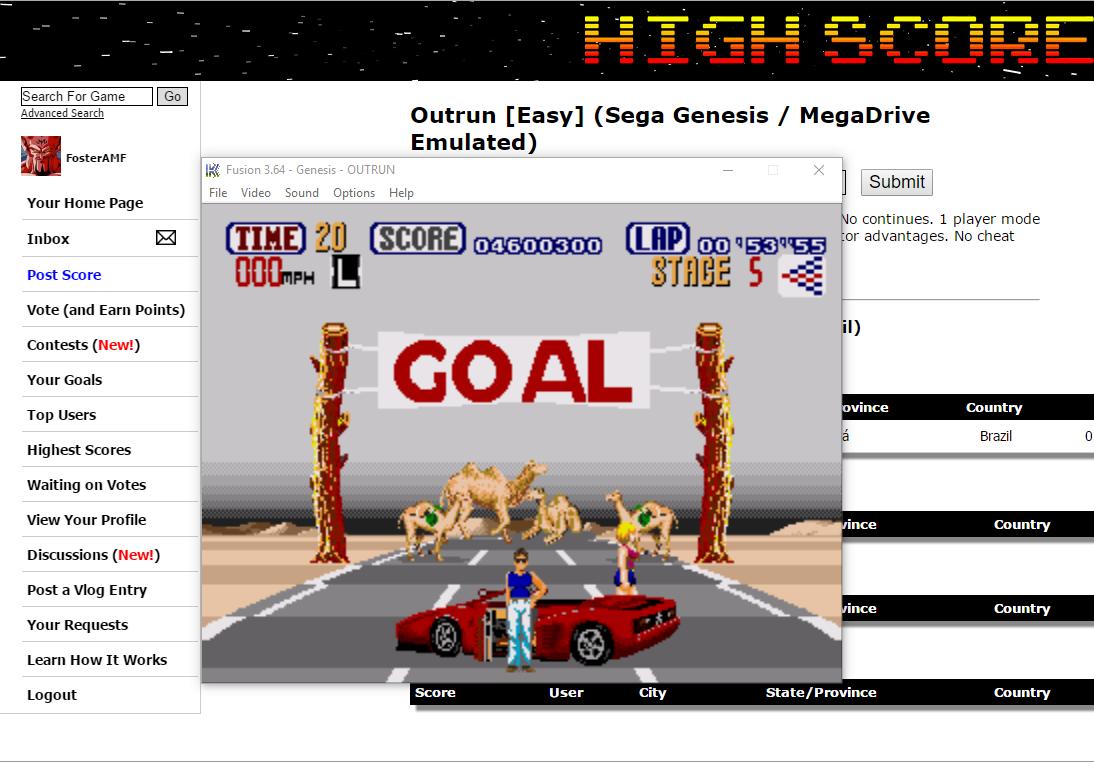 FosterAMF: Outrun [Easy] (Sega Genesis / MegaDrive Emulated) 4,600,300 points on 2016-08-02 14:54:08