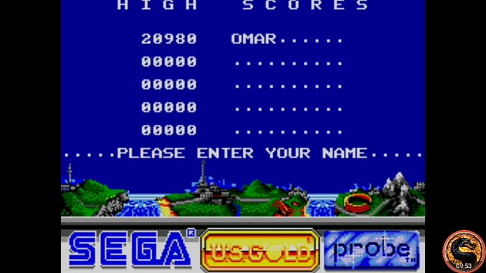 omargeddon: Outrun Europa (Sega Master System Emulated) 20,980 points on 2019-01-16 00:41:54