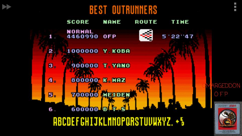 omargeddon: Outrun: Normal (Sega Genesis / MegaDrive Emulated) 4,460,990 points on 2017-05-19 01:29:52
