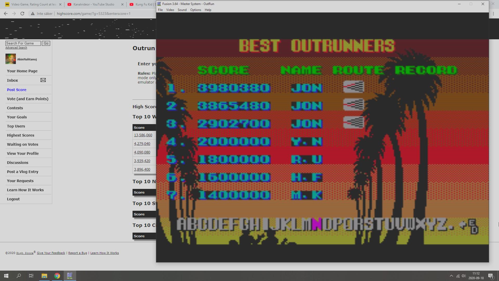 Outrun 3,980,380 points