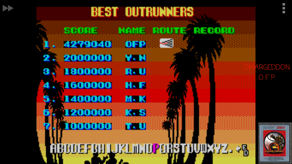 omargeddon: Outrun (Sega Master System Emulated) 4,279,040 points on 2017-05-19 23:45:59