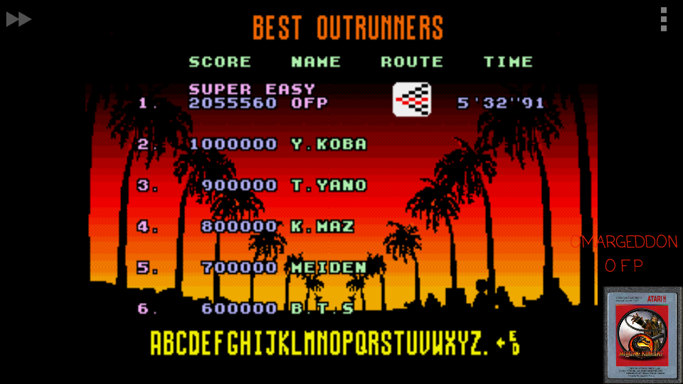 omargeddon: Outrun [Super Easy] (Sega Genesis / MegaDrive Emulated) 2,055,560 points on 2017-05-19 00:23:02