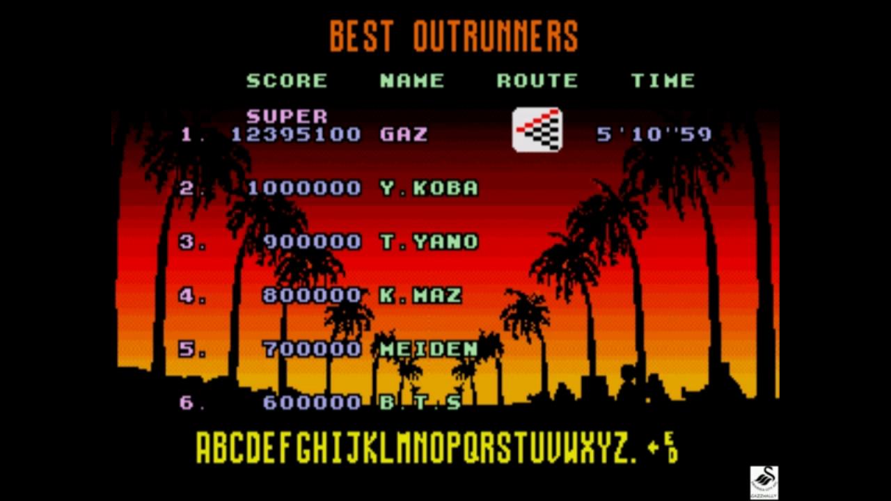 gazzhally: Outrun [Super] (Sega Genesis / MegaDrive Emulated) 12,395,100 points on 2018-11-01 15:04:46