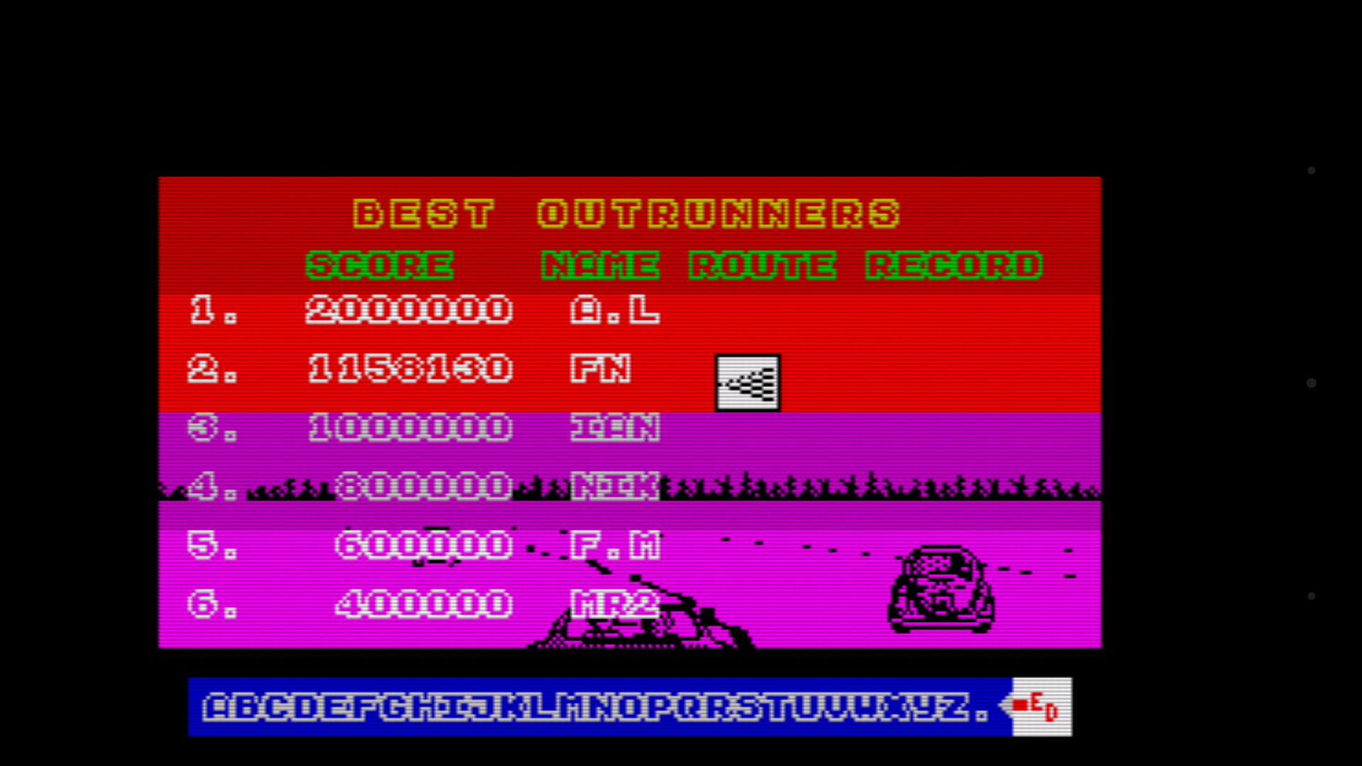 mechafatnick: Outrun (ZX Spectrum Emulated) 1,158,130 points on 2016-03-28 13:24:25